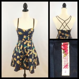 ANTHRO size 2 sundress - blue floral strappy linen